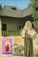 FOLKLORE COSTUMES VRANCEA REGION, CM, MAXICARD, CARTES MAXIMUM, 1980, ROMANIA - Costumes