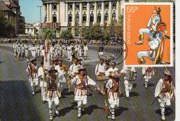 CALUSARII DANCE, FOLKLORE COSTUMES ARGES REGION, CM, MAXICARD, CARTES MAXIMUM, 1978, ROMANIA - Dans