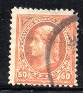 Y1722 - STATI UNITI 1894 , Presidenti Il 50 Cent N. 125 (yv 106) Usato E Senza Filigrana. Trasparenze - Usati