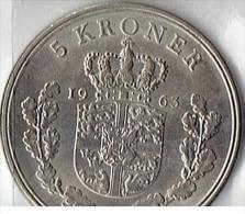 5 KRONE FROM 1963 - Denmark
