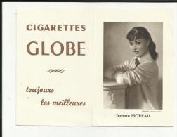 Mini-calendrier - 1957 - 2 Volets - Jeanne Moreau - Photo Harcourt-Publicié Cigarettes Globe - - Calendriers