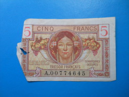 TERRITOIRES OCCUPES TRESOR FRANCAIS 5 Francs - Tesoro