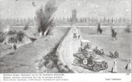 1914, Illustration Mortiers Belges Répondant Au Tir De L'artillerie Allemande, Voiture Croix Rouge - Edition Patriotique - Guerra 1914-18