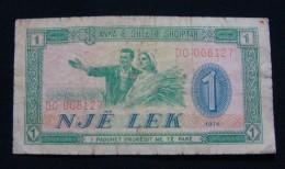 ALBANIA 1 LEK 1976, VF. SERIAL# DO - 008127 - Albanie