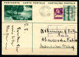 """Schweiz 1931 Bildpostkarte Mi.Nr.P159,10 Rappen Grün M.Zusatz""""Montreux:La Riviera Suisse""""Luzern-Mannheim""""1 GS Used,bef. - Entiers Postaux"""