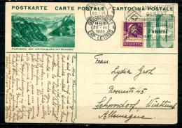 """Schweiz 1933 Bildpostkarte Mi.Nr.P159,10 Rappen Grün M.Zusatz""""Fürigen Am Vierwaldstättersee""""Genf-Schondorf1 GS Used,bef. - Entiers Postaux"""