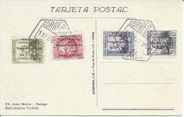 Espagne Carte Souvenir Timbres De Malaga 1937 Surcharge Malaga Agradecida A Tranquillo Bianchi 8 2 1937 Arriba Espagna - 1931-50 Lettres