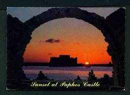 CYPRUS  -  Sunset At Paphos Castle  Used Postcard As Scans - Cyprus