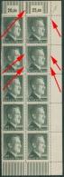 Deutsches Reich 1942 799 A 10er-Block Mit Deformierter Zähnung Geprüft M. Befund - Abarten