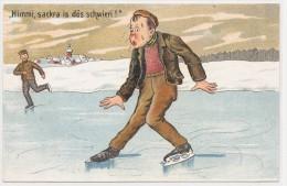 Illustrateur - Homme En Difficulté Sur Une Patinoire - Humour Patin Neige Glace - Himmi Sackra Is Dös Schwieri - Escalade
