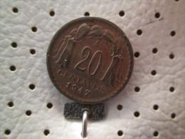 CHILE 20 Centavos 1947  # 4 - Chile