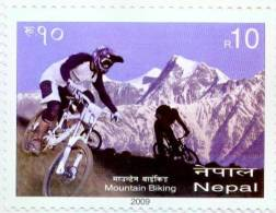 NEPAL MOUNTAIN BIKING RUPEE 10 STAMP NEPAL 2009 MINT MNH