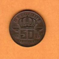 BELGIUM   50 CENTIMES (FRENCH) 1962 (KM # 148.1) - 1951-1993: Baudouin I