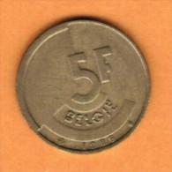 BELGIUM   5 FRANCS (DUTCH) 1986 (KM # 164) - 05. 5 Francs
