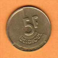 BELGIUM   5 FRANCS (FRENCH) 1993 (KM # 163) - 1951-1993: Baudouin I