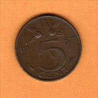 NETHERLANDS   5 CENTS 1957 (KM # 181) - [ 3] 1815-… : Kingdom Of The Netherlands