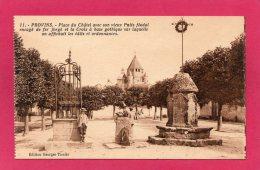 77 SEINE-et-MARNE PROVINS, Place Du Châtel, Puits Féodal, Croix à Base Gothique, Animée,(G. Tissier) - Provins