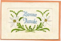 BONNE ANNEE - Carte BRODEE- Début 1900 - Fleurs Edelweiss -  TBE - RARE - - Embroidered