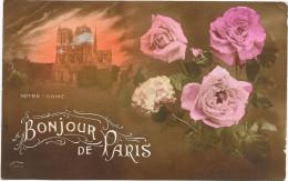 PARIS  (cpa 75)  Un Bonjour De PARIS  Notre-Dame -  Roses  - - Autres