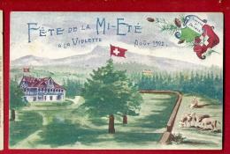 PBI-08  Fête De La Mi-été à La Violette Août 1902 Givrine Sur St-Cergues,Jura Vaud,Troupeau Vaches. Carte Officielle,non - VD Vaud