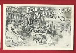 PBI-16 Fête De La Mi-été Du Jura Août 1907 Givrine Sur St-Cergues, Danse, Litho , Non Circulé - VD Vaud