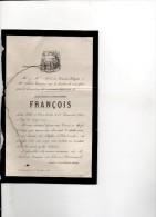 Elise François +26/12/1864 HAUBOURDIN 20 Mois Fille Alphonse François Et DELGUTTE LILLE - Avvisi Di Necrologio