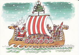 Drakkar, Viking, Père Noël, Niels Behrend, Santa 's Ark, 2 Scans - Illustrateurs & Photographes