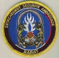 ECUSSON GENDARMERIE PROTECTION AMBASSADE DE FRANCE RABAT + VELCRO - Police