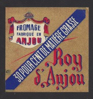 Etiquette De Fromage Carré  -   Roy D´Anjou   -  30 %  -  (Laiterie De Grez Neuville)  (49 I) - Fromage