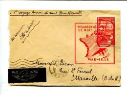 1er Vol De Nuit Paris Marseille + Cachet D'arrivée 26 VII 1939 - Premiers Vols