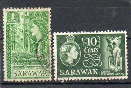 GRANDE-BRETAGNE     2 Timbres De Sarawak  1 C Et 10 C    Oblitérés - Sarawak (...-1963)