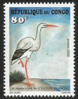 Congo 2002 Cigogne Blanche White Stork Bird Mint 80f - Congo - Brazzaville