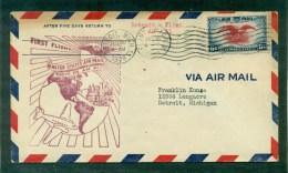 1er Vol Flint/ Détroit 20 Juillet 1938.arrivée DETROIT Sur Le Recto - 1c. 1918-1940 Cartas