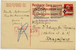 SWITZERLAND 1917 Stationery Card To Kragujevac With K U. K  Zensurstelle 159 Cachet. - Covers & Documents