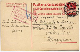 SWITZERLAND 1918 Stationery Card To Kragujevac With K U. K  Zensurstelle 597 Cachet. - Covers & Documents