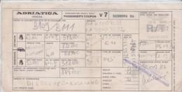 BIGLIETTO TRAGHETTO DA BARI A DUBROVNIK 1987 - Europe