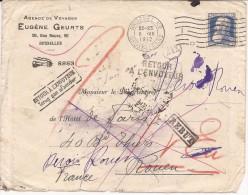 L. Affr N°76 De BRUXELLES/1912 Pour Rouen + REBUT, RETOUR, INCONNU A L'APPEL ... - 1905 Grosse Barbe