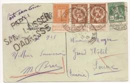 """Carte Affr 108+109 X2 +110Càd LE HAVRE/1915 Pour La Tunisie + """"PARTI/SANS LAISSER/D'ADRESSE"""" . Rare Destination - Niet-bezet Gebied"""