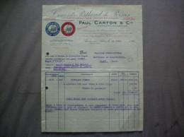 PERNES EN ARTOIS PAUL CARTON & Cie CIMENTS PORTLAND DE PERNES CHAUX HYDRAULIQUE FACTURE DU 24 JUIN 1929 - France