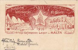 Fröhliche Weihnachten Vom Kriegs-Gefangenen-Lager In Malta - 1915/16   (160119) - Malta