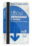 116 T - TICKET TRAM - STGA - GRAND ANGOULEME - Ticket Dépannage (Dans L'état - Voir Scan) - Tramways