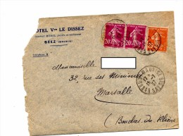 Lettre Cachet Bourg Saint Maurice Entete Hotel Dissez + Flamme Marseille Foire - Postmark Collection (Covers)