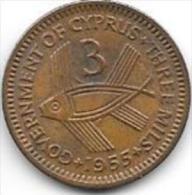 Cyprus 3 Mils 1955  Km 33  Xf - Cyprus