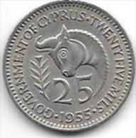 *cyprus  25 Mils 1955  Km 35  Xf+ - Cyprus