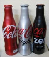 AC - COCA COLA ALUMINUM EMPTY BOTTLES 3 PIECES SET & CROWN CAPS - Botellas