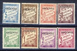 Andorra Timbre Taxe 1931-32 Serie N. 1-8 MVLH Catalogo € 65 - Nuovi