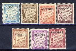 Andorra Timbre Taxe 1931-32 Serie N. 1-4; 6-8 MVLH (manca N. 5) Catalogo € 30 - Nuovi