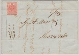 25975 Österreich, 1850, 3 H I, Brief Vom 22. Aug. 1850 Geschrieben VERONA/Venetien Nach ROVEREDO/Südtirol, - 1850-1918 Empire