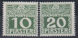 25991 Österr. Post I.d. Levante. 1908/10 Portomarken 12 Xb + 13 Xb, Postfrisch**, Jeweils Mit Befund Ferchenbauer Als P! - Levant Autrichien