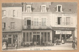 "8. - LUZY. -- Place Chanzy - GRAIN - GRAINE - FOURRAGE -- DEROCHE-MINARD ""Charbon""- CAFE - Other Municipalities"